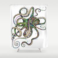 pink floyd Shower Curtains featuring Octopsychedelia by TAOJB