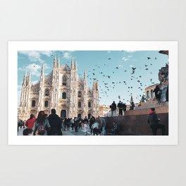 Flight over the duomo in Milan Art Print