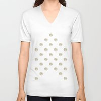 polka dot V-neck T-shirts featuring Full Moon Polka Dot by Paula Belle Flores