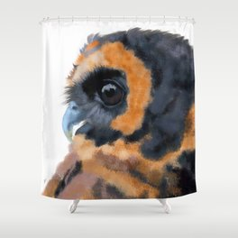 Brown Wood Owl (on white) Shower Curtain