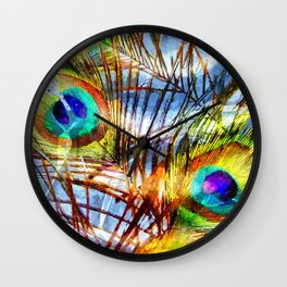 Pavo Feathers Under Water Wall Clock