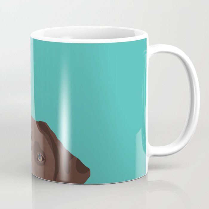 Chocolate Lab peeking dog head labrador retriever must have funny dog breed gifts Coffee Mug