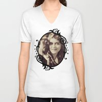 thundercats V-neck T-shirts featuring Mary Pickford - Vintage Lady with kitten by Augustinet