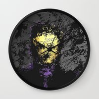 edgar allan poe Wall Clocks featuring Edgar Allan Poe by brett66