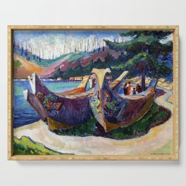 Emily Carr First Nations War Canoes in Alert Bay Serving Tray