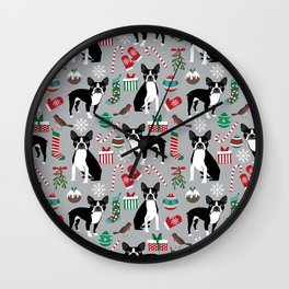 Boston Terrier christmas holiday pattern design dog breed gifts pet friendly home decor Wall Clock