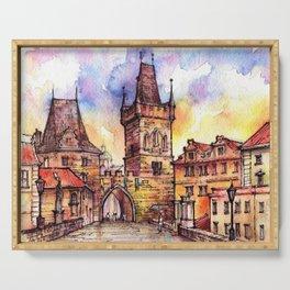 Prague ink & watercolor illustration Serving Tray
