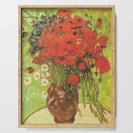 Still Life: Red Poppies and Daisies by Vincent van Gogh Serving Tray
