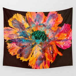 Psychedelic Floral Dew Wall Tapestry