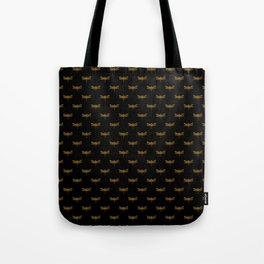 Golden Dragonfly Repeat Gold Metallic Foil on Black Tote Bag