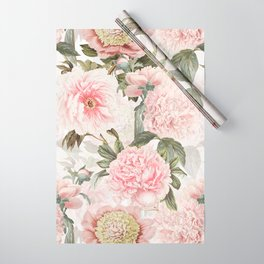 Vintage & Shabby Chic - Antique Pink Peony Flowers Garden Wrapping Paper