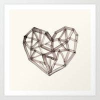 wooden Art Prints featuring Wooden Heart by Picomodi