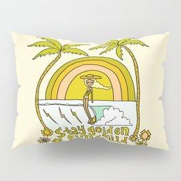 stay golden sun child //retro surf art by surfy birdy Pillow Sham