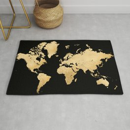 Sleek black and gold world map Rug