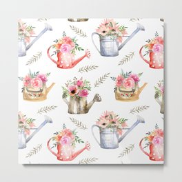 Garden watering cans and flowers. Vintage pattern Metal Print
