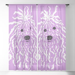Puli (Violet and White) Sheer Curtain