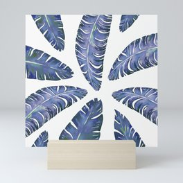 Tropical Banana Leaves Blue #society6 #buyart Mini Art Print