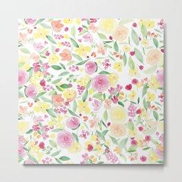 Pink pastel yellow summer floral watercolor pattern Metal Print