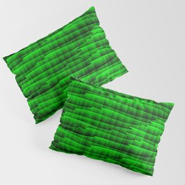Square cross green lines on a dark tree. Pillow Sham