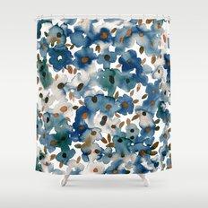 Georgia Floral Blue Shower Curtain