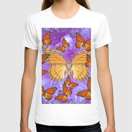 Orange Mariposas (Monarch Butterflies) on Lilac Color clouds T-shirt