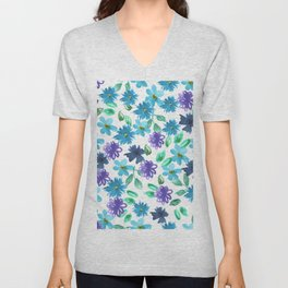 Watercolor cornflower, forget-me-not, rose green leaves Seamless pattern on white background Unisex V-Neck