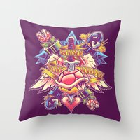 minions Throw Pillows featuring BOWSER NEVER LOVED ME by BeastWreck