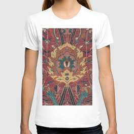 Flowery Arabic Rug II // 17th Century Colorful Plum Red Light Teal Sapphire Navy Blue Ornate Pattern T-shirt
