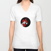 rooster V-neck T-shirts featuring rooster by Isacco Saccoman
