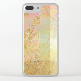 Blossoms Trees Pink Yellow Abstract Clear iPhone Case