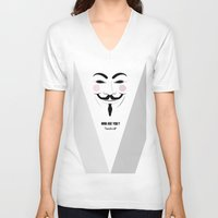 anonymous V-neck T-shirts featuring Anonymous by Nena Loca