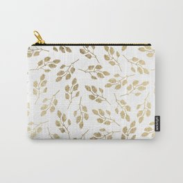 Elegant white faux gold modern leaves floral Carry-All Pouch