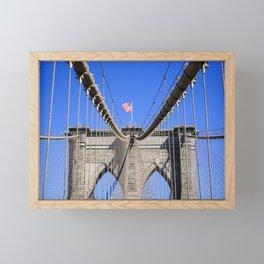 American Flag at the Brooklyn Bridge Framed Mini Art Print