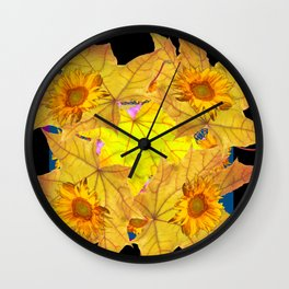 Golden Yellow Fall Leaves Sunflower Black Design Pattern Art Wall Clock