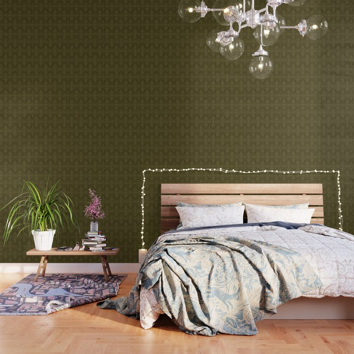Floral leaf motif running stitch style. Wallpaper