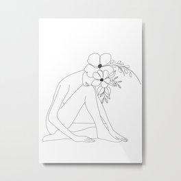 Minimal Line Art Nude Woman with Flowers Metal Print