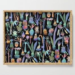 Nocturnal lush garden - Dreamy cacti and succulents plants Serving Tray