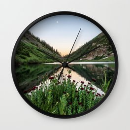 Natures Bouquet // Green and Red Floral Foreground Mountain and Moon Reflection Wall Clock