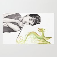 hepburn Area & Throw Rugs featuring Audrey Hepburn  by Olechka