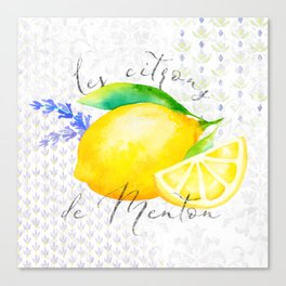 Les Citrons de Menton—Lemons and Lavender, Provence Canvas Print