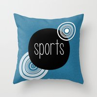sports Throw Pillows featuring SPORTS by VIAINA DESIGN