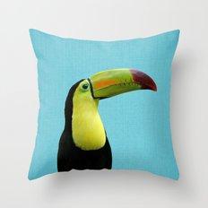 Toucan Bird - Blue Throw Pillow