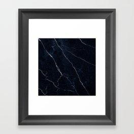 Navy Blue Cracked Marble Framed Art Print