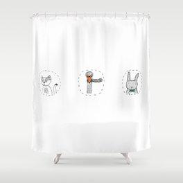 Cat, Swan & Bunny Shower Curtain