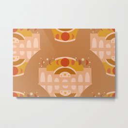 Moon Palace Repeat in Clay Metal Print