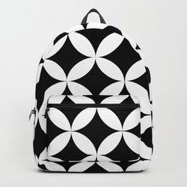 Vedic Geometric Circles Pattern Black and White Backpack