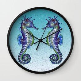 Seahorses Blue Love Wall Clock