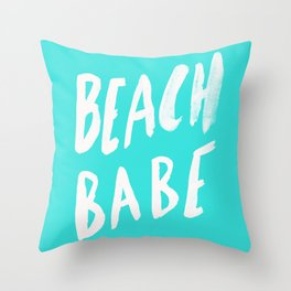 Beach Babe x Teal Throw Pillow