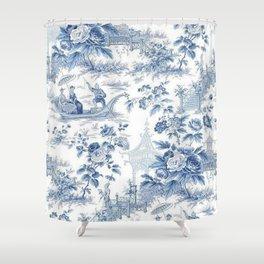 Powder Blue Chinoiserie Toile Duschvorhang