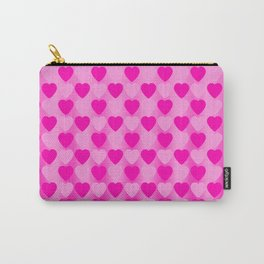 Zigzag of pink hearts staggered on a light background. Carry-All Pouch
